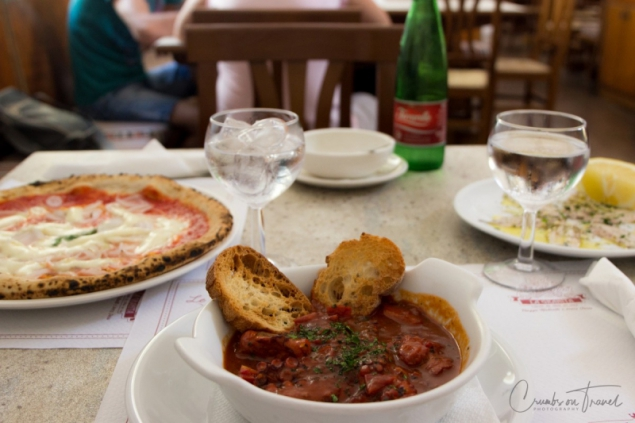 Pizza and fish soup