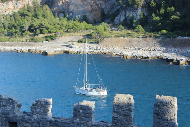 View from the walls of the Church of St. Peter in Porto Venere, Italy