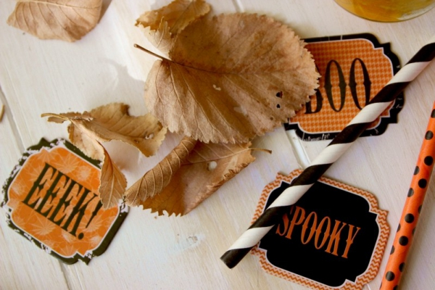 Leaves and Halloween decoration