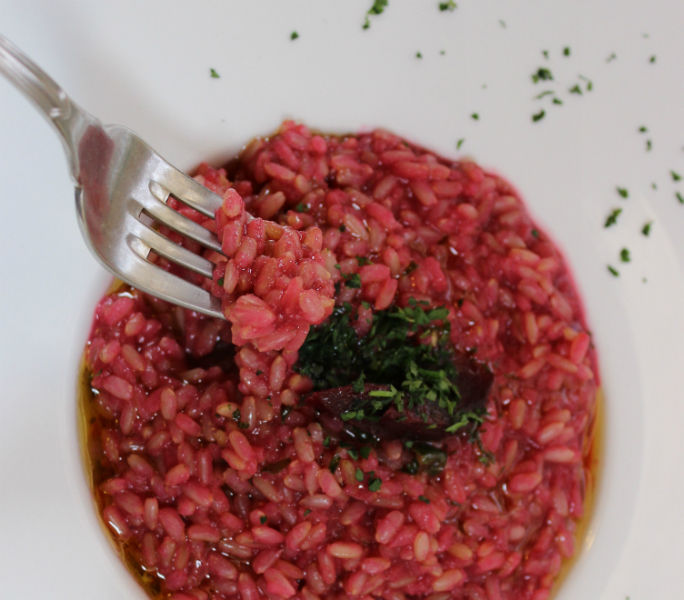 Restaurant Dioniso, beetroot risotto, Volterra, Tuscany, Italy