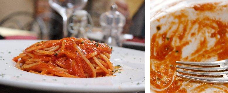Restaurant Dioniso, spaghetti with tomato sauce,Volterra, Tuscany, Italy