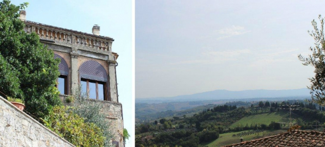 The view from San Gimignao into the Tuscan landscape