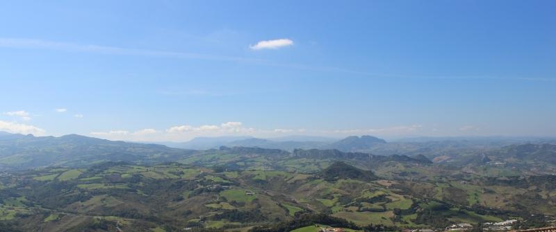 San Marino, view over Italy inland