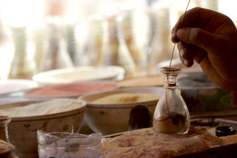 Sand art in jars and bottles from Petra, Jordan