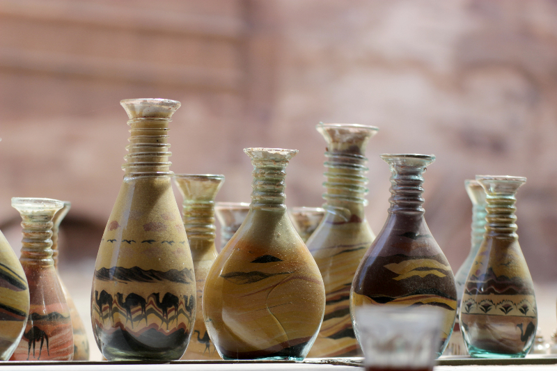Sand art in jars and bottles from Petra, Jordan