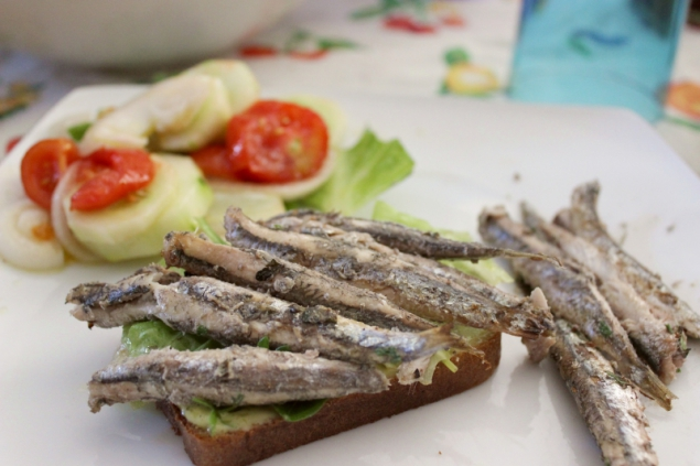Paleo sandwich bread with anchoves and salad
