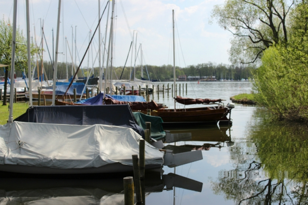 Sailing boats at the sails club Schwerin, Germany