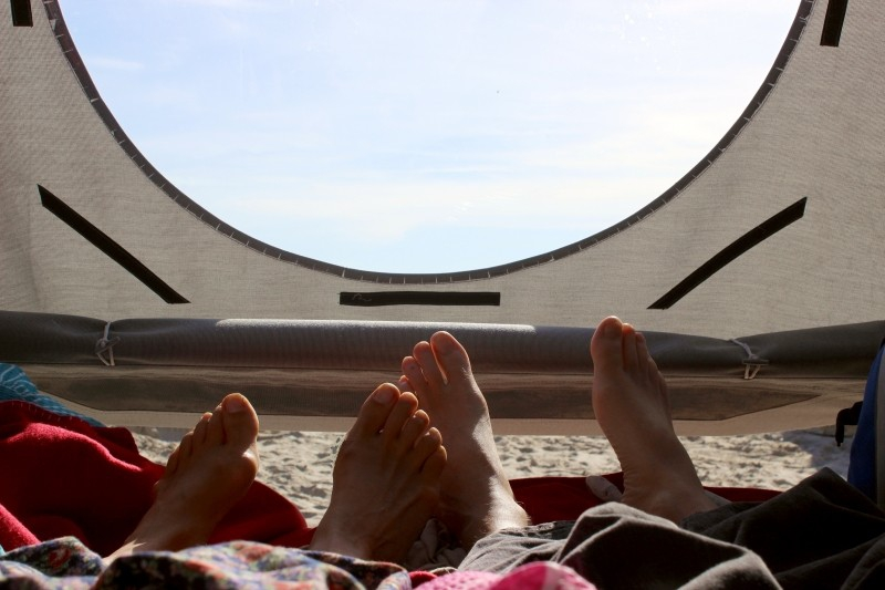 View out of the sleeper beach basket in Travemunde/Germany