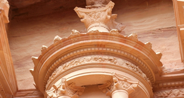 Detail of the Treasury in Petra, Jordan