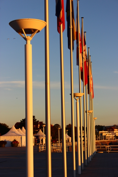 Flags in morning light in Travemunde, Germany