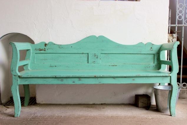 Green bench, Stud Traventhal, Schleswig-Holstein/Germany