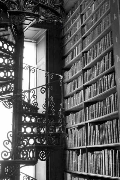 Spiral staircase at the Library of the Trinity College in Dublin/Ireland