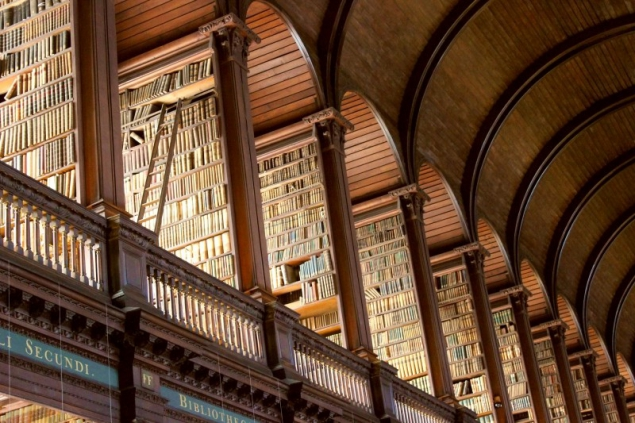 Books at the Library of the Trinity College in Dublin/Ireland