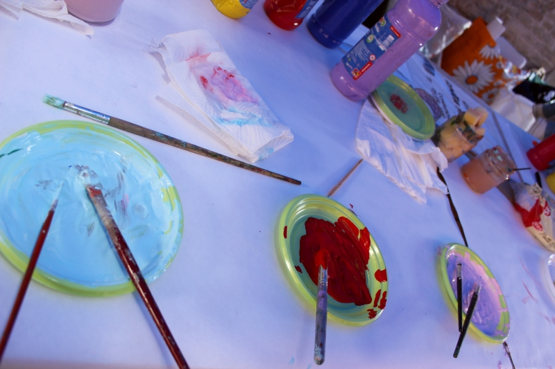 Colors for painting, truffle festival Sant'Angelo in Vado, Le Marche, Italy