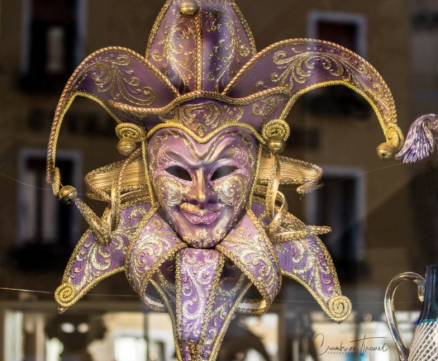 Arlecchino mask seen in Venice, Italy