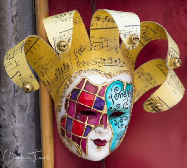 Arlecchino mask seen in Venice, Italy
