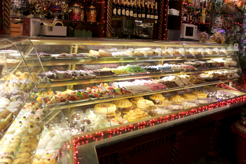 Display case with sweets, cakes and more mouth-watering sweetness