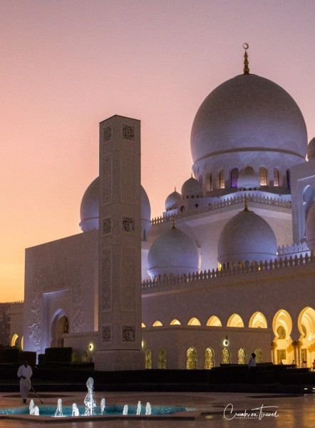 Sheikh Zayed Grand Mosque, sunset
