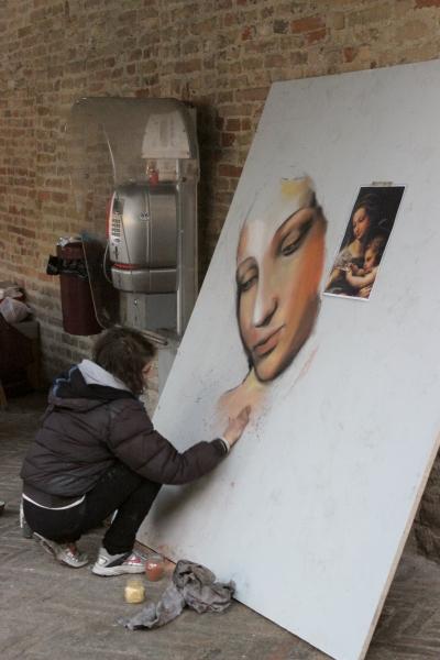 Painter, Christmas market, Urbino, Italy