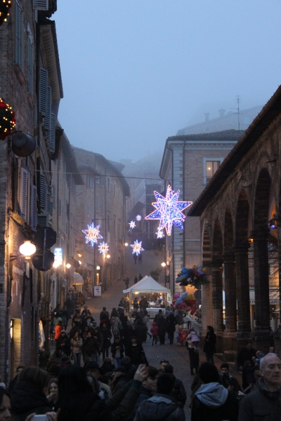 Christmas light decorations, Urbino, Italy